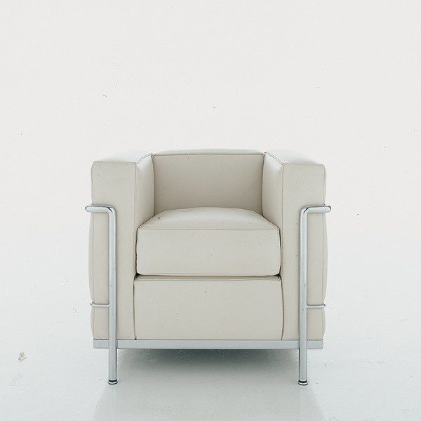 Cassina Poltrona Lc2.Lc2 Poltrona Cromata Pelle X Bianca Le Corbusier Cassina