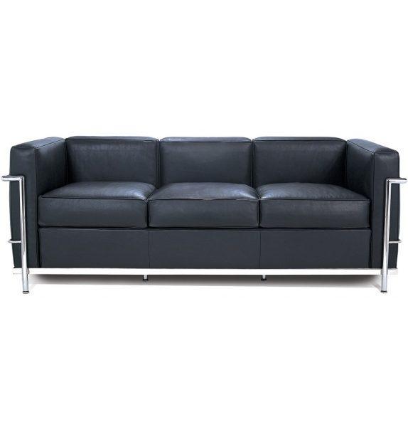 Lc2 pelle x nera divano 3 posti le corbusier cassina for Le corbusier mobili
