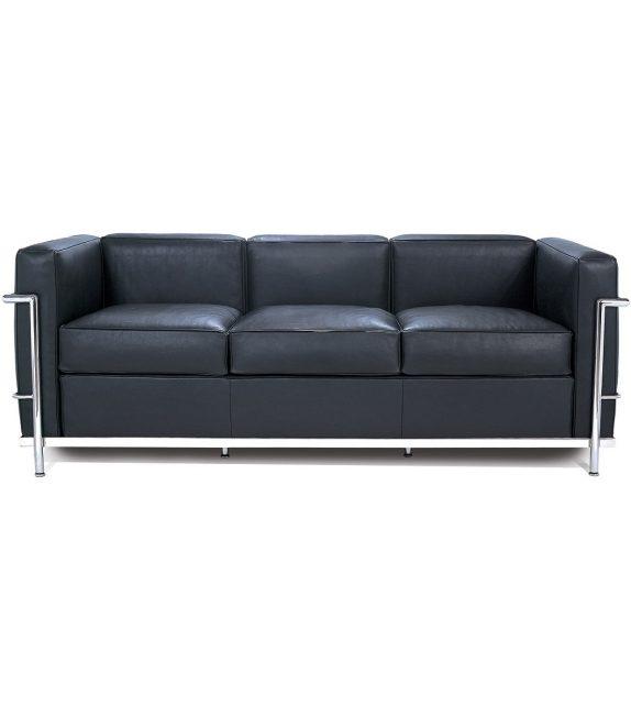 LC2 pelle x nera divano 3 posti Le Corbusier Cassina — Casarredo.it