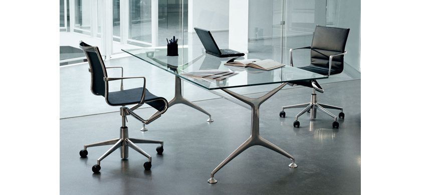 Alias Mobili Outlet.Frame Table 160x80 Polished Extra Clear Glass Alias