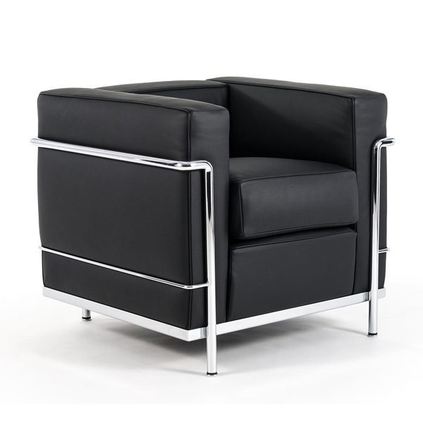 lc2 poltrona cromata pelle x nera le corbusier cassina. Black Bedroom Furniture Sets. Home Design Ideas